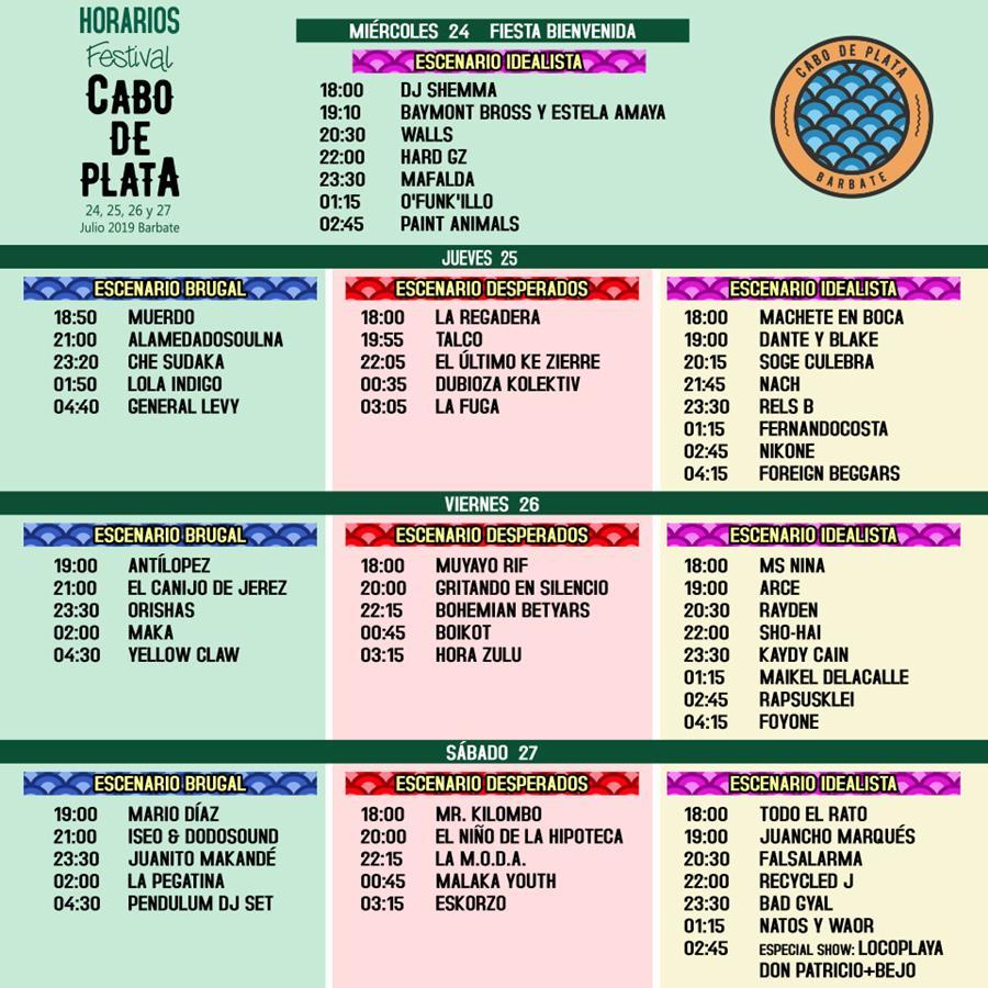 El Festival Cabo de Plata hace públicos sus horarios por escenarios y días